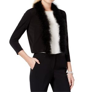 Calvin Klein Feather Trim Dressy Cardigan Sweater
